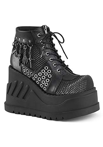 grey Leather Demonia STOMP Vegan Velvet Blk 18 qqRXHa