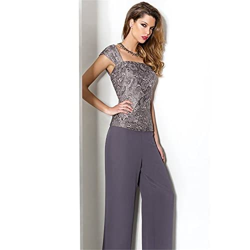 c7d11194297 Newdeve Purple Chiffon Lace 3 Pieces Mother of the Bride Pantsuits Dress  with Jacket low-