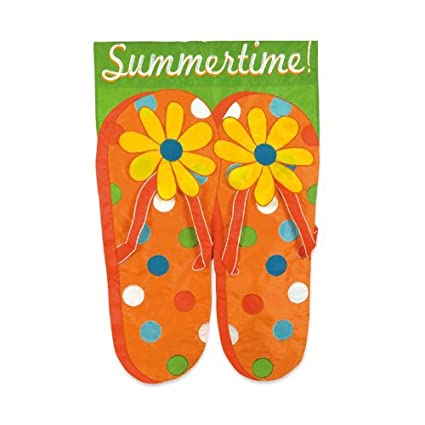 3584a5b059a9 Image Unavailable. Image not available for. Color  Garden Flag Summertime Flip  Flops
