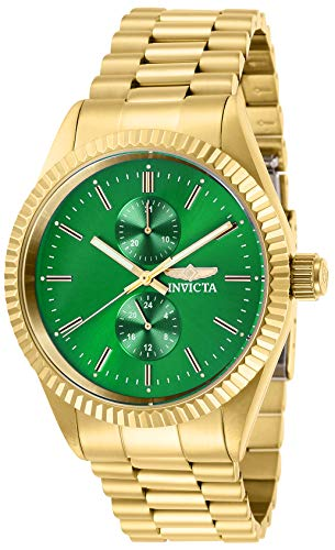 Invicta Men's Specialty Quartz Watch with Stainless Steel Strap, Gold, 22 (Model: 29429) (Invicta Specialty Collection Tritnite Flame Fusion Crystal)
