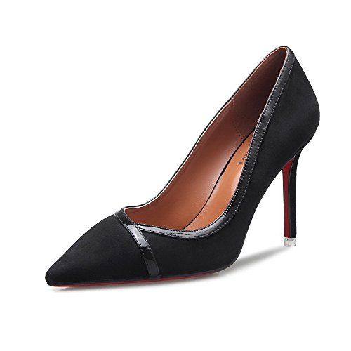 AalarDom Femme Tire Pointu Stylet Matière Mélangee Chaussures Légeres, Noir-9CM, 35.5