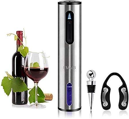 FMAIS Sacacorchos Eléctrico, Profesional Abridor de Botellas de Vino Eléctrico, Juego de Regalo con Cortador de Papel Aluminio, Tapón Para Vino, Cable de Cargador USB, Recargable