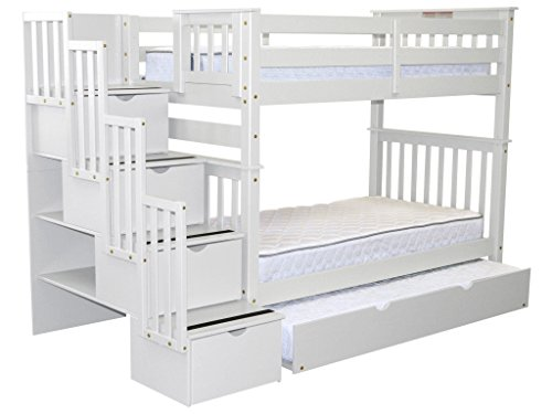 way Bunk Beds Twin over Twin with 4 Drawers in the Steps and a Twin Trundle, White ()