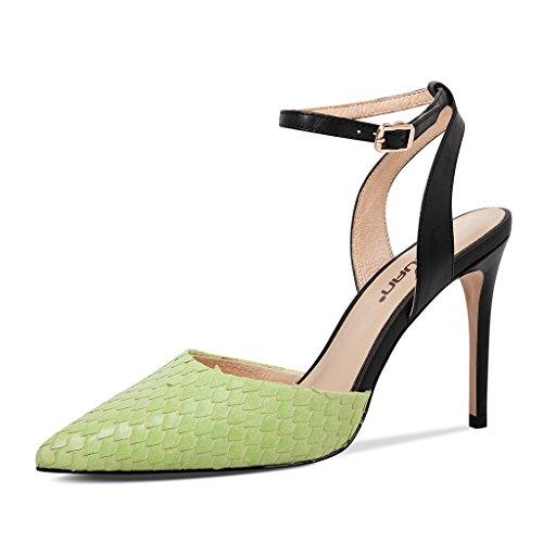 Colorblock des souligné des Sandales de à à Femmes Romaines Chaussures Hauts avec Talons Chaussures Talons Vert a Hauts 66x8Ur
