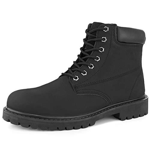 Hawkwell Men's Steel Toe Waterproof Safety Work Boot,Black Leather,10 M US in USA