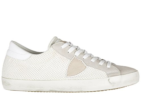 Philippe Model chaussures baskets sneakers homme en cuir classic perforé blanc