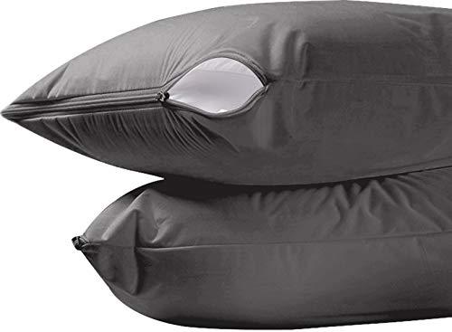 Utopia Bedding Waterproof Zippered Pillow Encasement Pack of 2 - Jersey Fabric Pillow Protector (Grey, King)