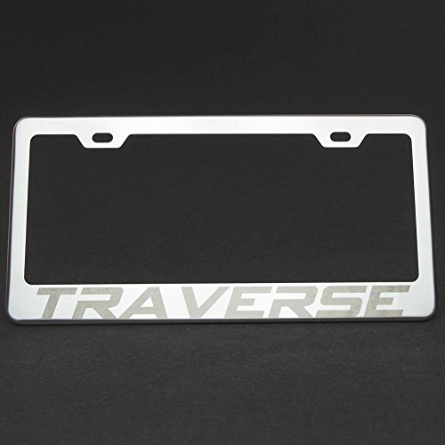 One Traverse Polish Mirror Chrome Stainless Steel License Plate Frame Holder Front Or Rear Bracket Laser Engrave w/ Screw Cap (Stainless Mirror Suburban Steel)