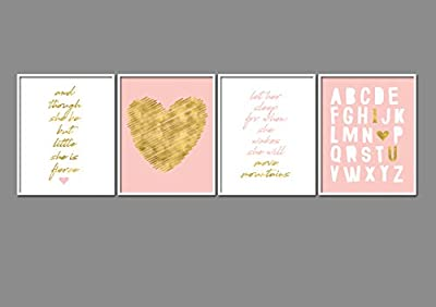 """8"""" x10"""" Gold Heart Nursery Prints for Baby Girl & Children Room Decor & Decorations Perfect for Baby Shower Gift Ideas …"""