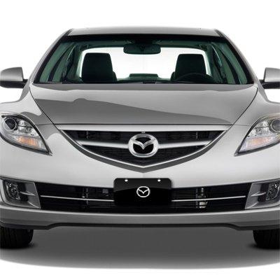Au-Tomotive Gold Mazda Chrome Logo on Black Metal License Plate INC