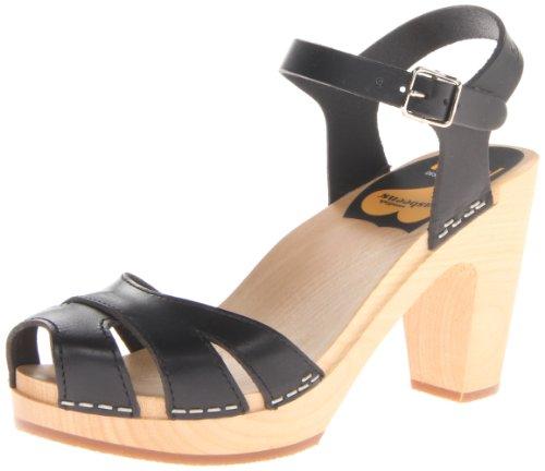 swedish hasbeens Women's Suzanne Platform Sandal,Black,38 BR/8 M US