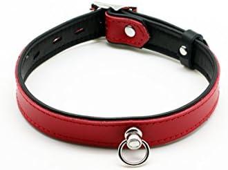 Leder Halsband Abschließbar Gothic Rot schmal, Stabiler O-Ring Punk Choker 100% Echtleder