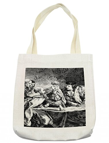 Lunarable Victorian Tote Bag, Christopher Columbus at the Court of King Ferdinand and Queen Isabella America, Cloth Linen Reusable Bag for Shopping Groceries Books Beach Travel & More, (Easy Christopher Columbus Costume)