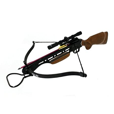 Manticore 150lbs Wood Crossbow with Scope, Extra Arrows and Rope Cocking Device