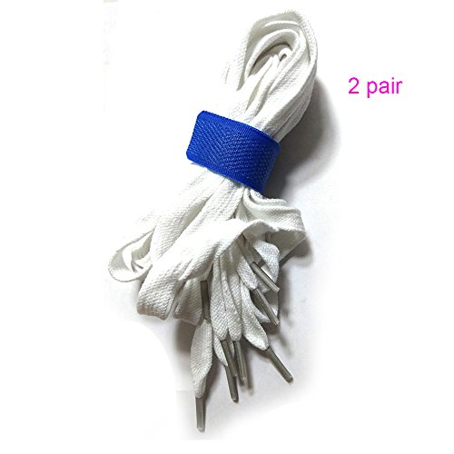2 Pairs Non-Slip Pure Cotton Flat Shoelaces 46''- 48'' Inch Length 5/16'' Wide (120cm/47.25inch, white) by LIHUAMAO (Image #1)