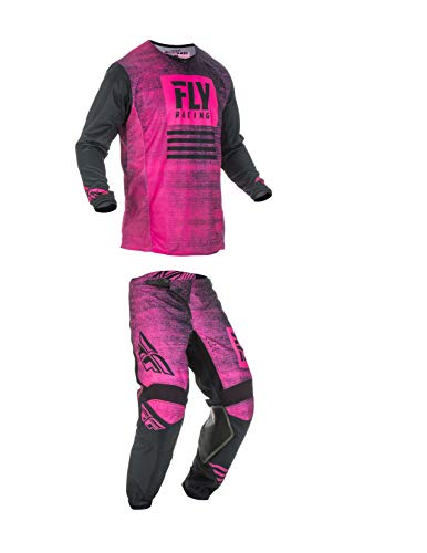 Kinetic Youth Pants - Fly Racing Youth Kinetic Noiz Motocross Pants/Jersey Set Neon Pink/Black (22W Pants/Youth Small Jersey)