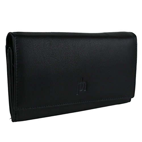 Prime Hide Women's Leather Matinee Purse Wallet By Handy Gift Onesize Black ()