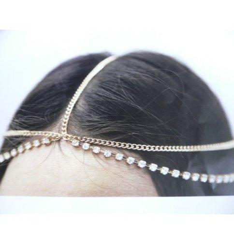 WIIPU Hair Accessory Head Chain Rhinestones Crystal Head Chain Hair Band