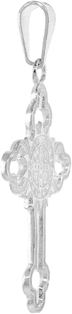 1 1//2 inch Sterling Silver St Benedict Medal on Budded Cross Pendant for Men and Women