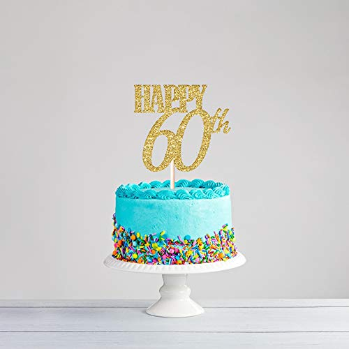 CC HOME 60 Cake Topper & Fabulous Birthday Cake Topper Golden / 60th Party Decoration Ideas /60th Birthday Decorations Gifts for Women or Men -