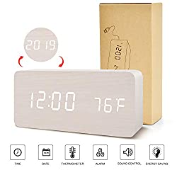 BlaCOG Digital Clock, Adjustable Brightness Voice Control Wooden Alarm Clock for Bedroom, Display Time Temperature Date and USB Battery Powered, White