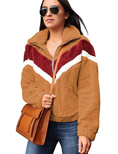 Women's Autumn Winter Long Sleeve Zipper Sherpa Fleece Sweatshirt Pullover Jacket Coat Camel