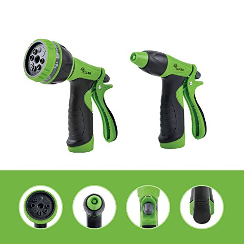 YeStar Garden Hose Nozzle Spray Nozzle Set, 8 Adjustable High Pressure Water Patterns for Watering Plants, Cleaning, Car Washing and Showering Dog & Pets - Set of 2, ()