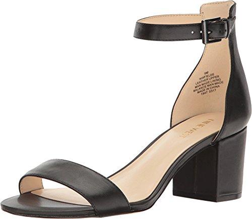 Nine West Women's Fields Leather Dress Sandal, Black, 7.5 M US -