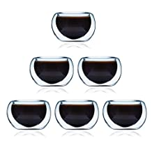 Glass Tea Cup Set of 6 ELITEA Modern Double Wall Insulated Teacups Extra Thick Thermo Espresso Tea Light Holders