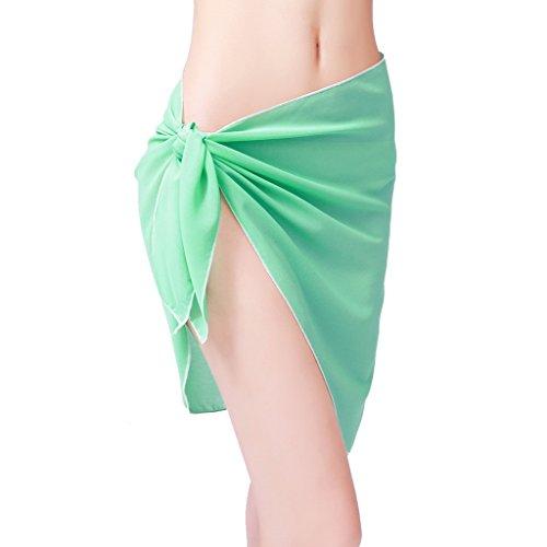 ChinFun Women's Sarong Wrap Beach Swimwear Chiffon Cover Up Short Pareo Bikini Swimsuit Wrap Skirt Bathing Suit Shawl Semi-Sheer Translucent Solid Lake Green