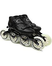 Sljj Volwassen Professionele Racing Skates, 4 * 90-110MM Wielen Carbon Fiber Professionele Rolschaatsen Voor Vrouwen Zwart Inline Speed Skates Rood Blauw Inline Skates