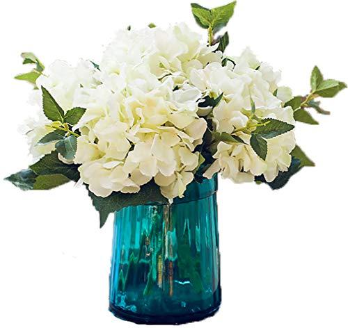 Lannu Artificial Hydrangea Flowers Silk Floral Fake Bouquet Flower for Home Wedding Wall Decor Pack 2, (Cream White) (Flower Silk Arrangment)