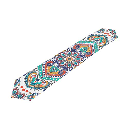 Paisley Table Runner - Rectangle Floral Paisley Medallion Printed Table Runner 13x90in for Wedding Birthday Holiday