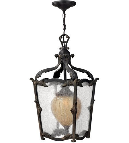 Outdoor Pendant 1 Light with Aged Iron Clear Optic Etched Amber Cast Aluminum Medium Base 12 inch 100 Watts