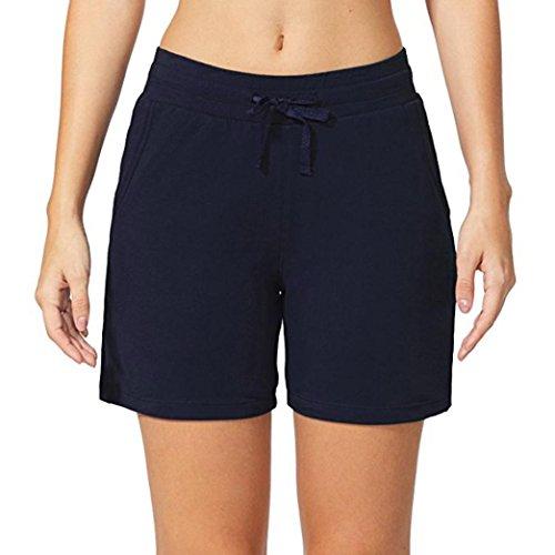 (vermers Women's Yoga Shorts, Elastic Waist Activewear Pants Lounge Pockets Beach Trouser(M, Navy))
