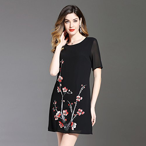Neck Embroidered Collared fit Black line Short Half A Women`s Sleeve cotyledon Dress Dresses Loose IwX1PqxS