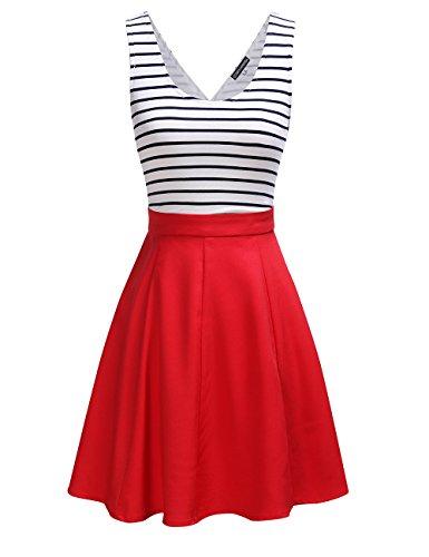 Omeya Womens Sexy Open Back Cocktail Slim Black White Striped Mini Dress L,Red