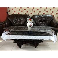 Kuber Industries Transparent 3D Design Center Table Cover 4 Seater 40*60 Inches (Silver Lace)