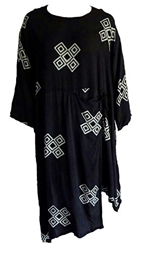 Black Unique Batik Dress Deep Pocket Wrap Lagenlook Fashion 2 X 3X 4X - Gypsy Mama Wrap