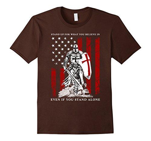 Mens Knight Templar American Flag T-Shirt Medium Brown