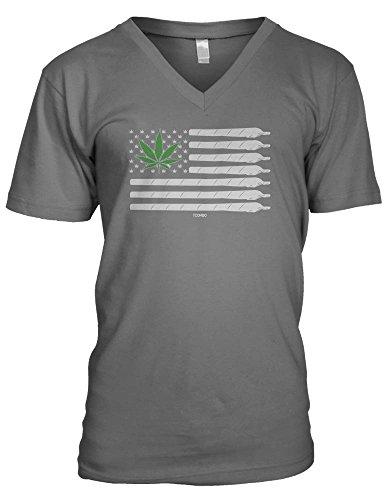 American Flag Weed Men's V-Neck T-shirt (2XL, CHARCOAL)
