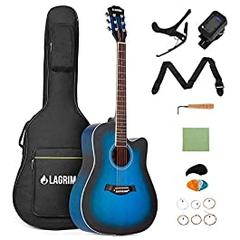 LAGRIMA 41″ Beginner Acoustic Guitar Starter Kit, Cutaway Design Natural 6 Steel Strings Guitars with Nylon Bag,Strap, Picks, Capo,Protector,Wrench,Wiping cloth and Set of strings(Blue)