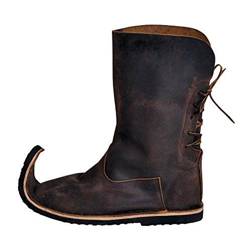 Elbenwald Medievales botas de las mujeres con los cordones Schnabel nobuck marrón 36-41 marrón