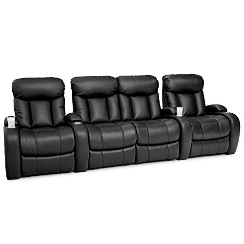 Seatcraft Sausalito Home Theater Seating Power Recline Leather Gel (Row of 4 Loveseat, Black) by SEATCRAFT