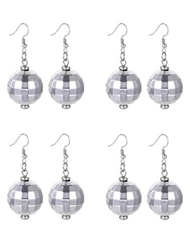 FUTTMI 4 Pairs of Disco Ball Dangle Earrings for Women Girls 60's 70's Silver Halloween Mirror Ball Costume Earrings