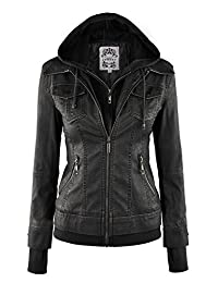 Womens 2-For-One Hodded Faux leather Jacket
