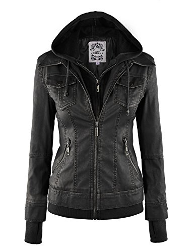 hooded faux leather jacket - 5