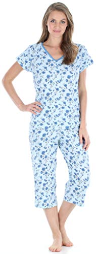 Sleepyheads Women's Sleepwear Cotton Short Sleeve V-Neck Top and Capri Pajama Set (SHCJ1730-5051-SML) Blue Rose