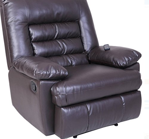 Serta Big & Tall Memory Foam Massage Recliner, Leather, Brow