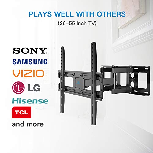 TV Wall Mount Bracket Full Motion Dual Swivel Articulating Arms Extension Tilt Rotation, Fits Most 26-55 Inch LED, LCD, OLED Flat&Curved TVs, Max VESA 400x400mm and Holds up to 99lbs by Pipishell